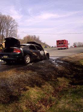 Car Fire on I-70 in Frederick County - Lisbon Volunteer Fire