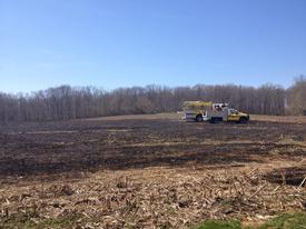E42 and B47 on a recent field fire on Dorsey Lane in Woodbine.  Photo courtesy of Winfield VFD.